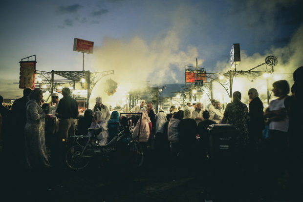 Vendors Locals and Tourists Gather at the Jamaa El-Fna Food Market