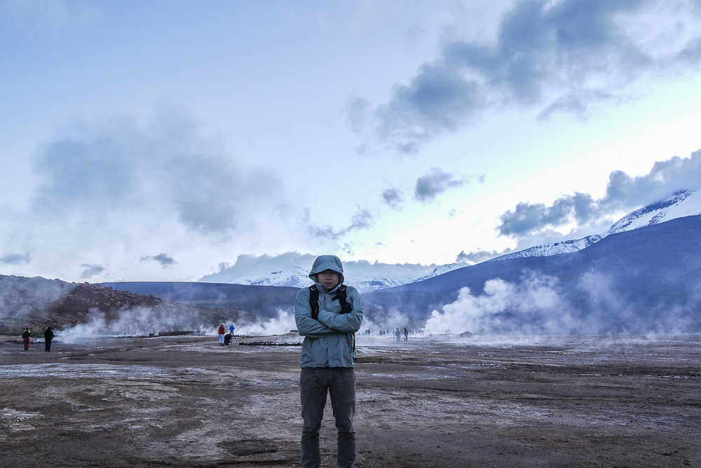 Freezing At El Tatio Geysers In The Morning