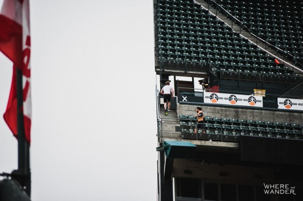 Elite Runners On Club Level Of AT&T Park Spartan Stadium Sprint