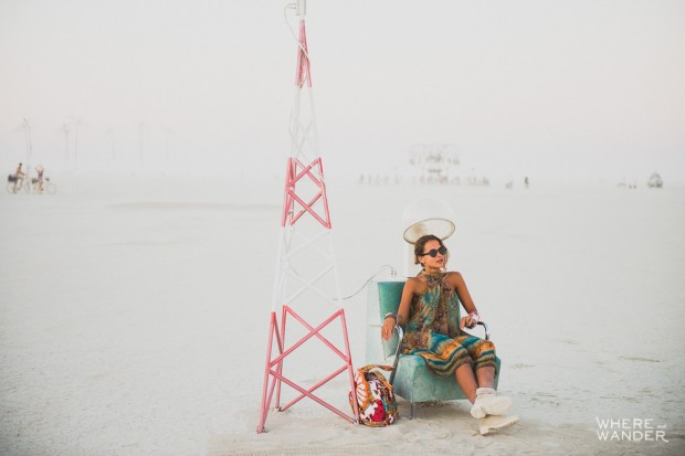 Girl In Art Installation at Burning Man