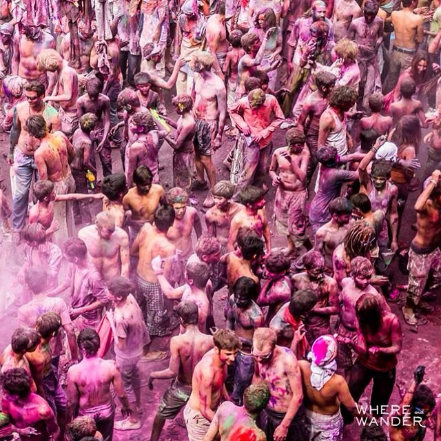 The Holi Festival captured in Pushkar, India. #travel #pushkar #india #holi #colors #rtw #festival #party #trance #dance #music