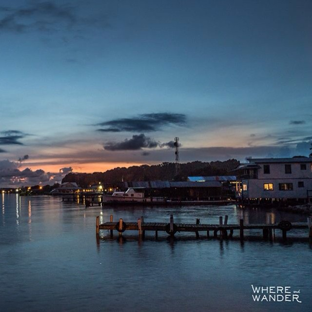 Sunset from the docks on Utila #travel #utila #honduras #sunset #landscapes #diving #gorgeous #rtw #whereandwander #world