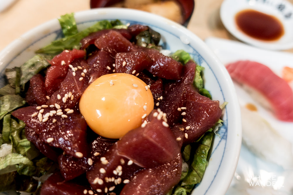 Tuna Maguro Don Menu with Egg Yolk At Tsukiji Fish Market