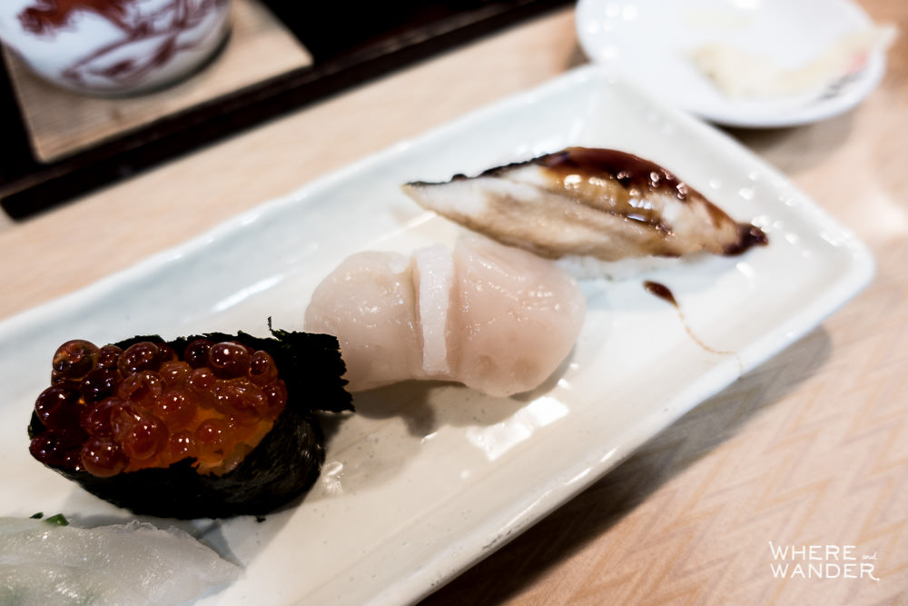 Ikura, Scallop and Eel Nigiri Dish At Tsukiji Fish Market Restaurant