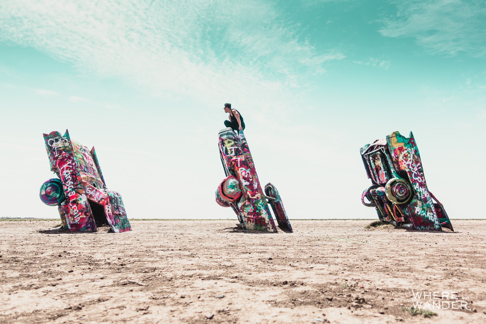 Kien Lam On Top Of Cadillac At Cadillac Ranch In Amarillo