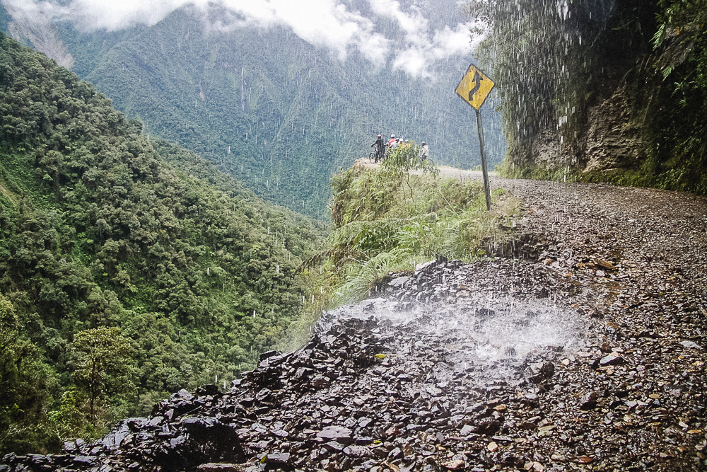 Waterfalls On Death Road Path In Bolivia