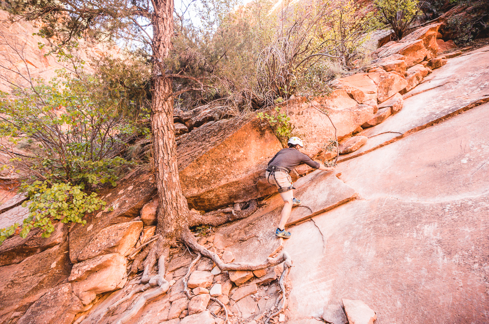 Climbing Out Of Yankee Doodle Canyon On Slick Slabs