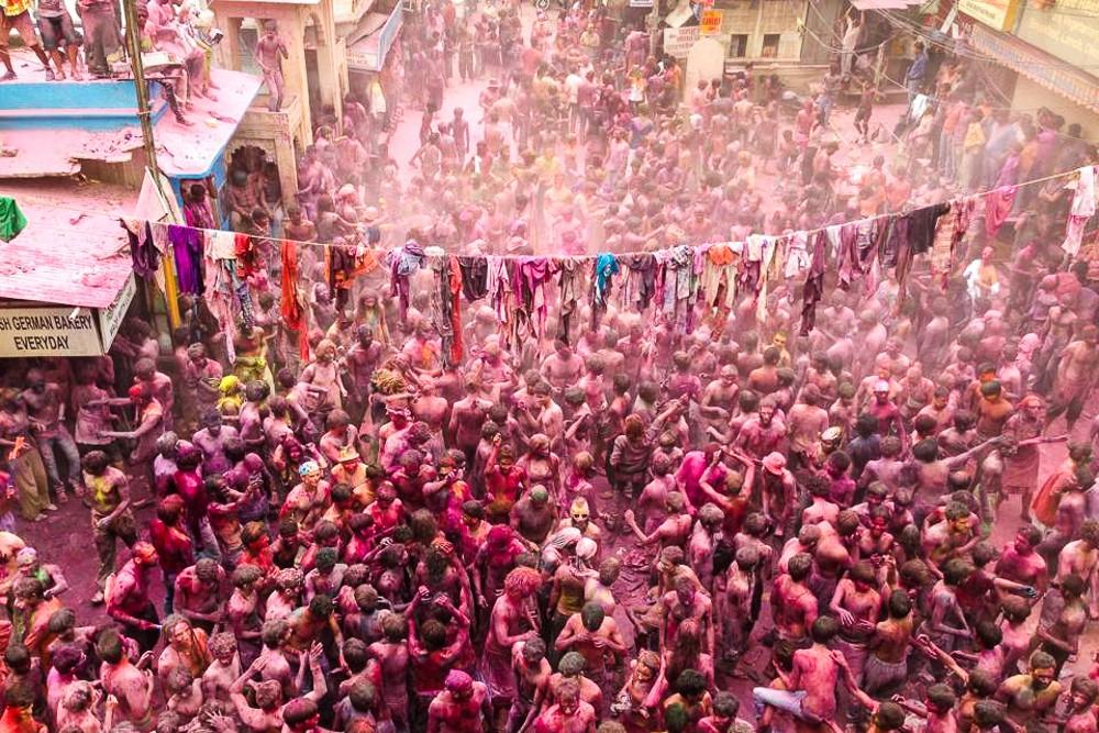 Pushkar Town Square during Holi Festival In India