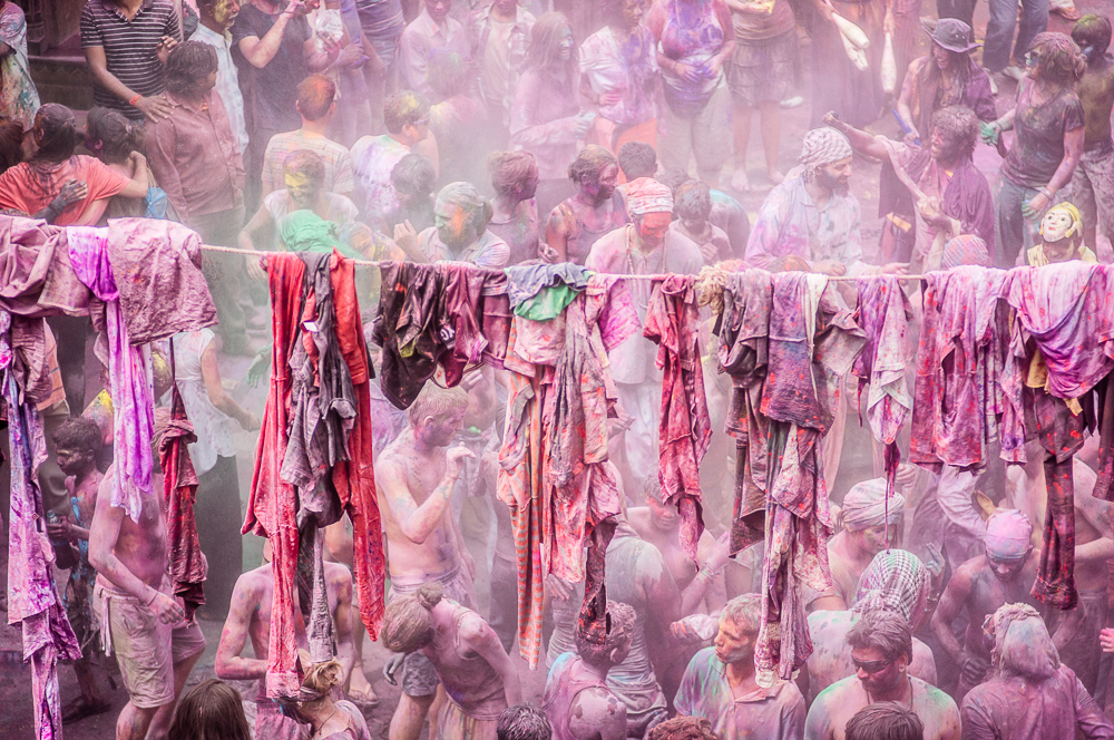 Clothes Hanging From Wire During Holi Festival In Pushkar India