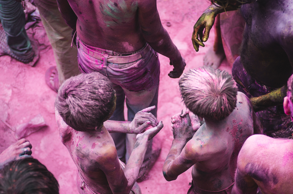 Two Boys Covered In Colors At Holi Festival In Pushkar India