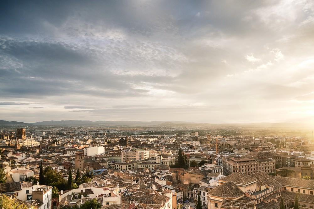 Granada at sunset overlooking the Albaicin