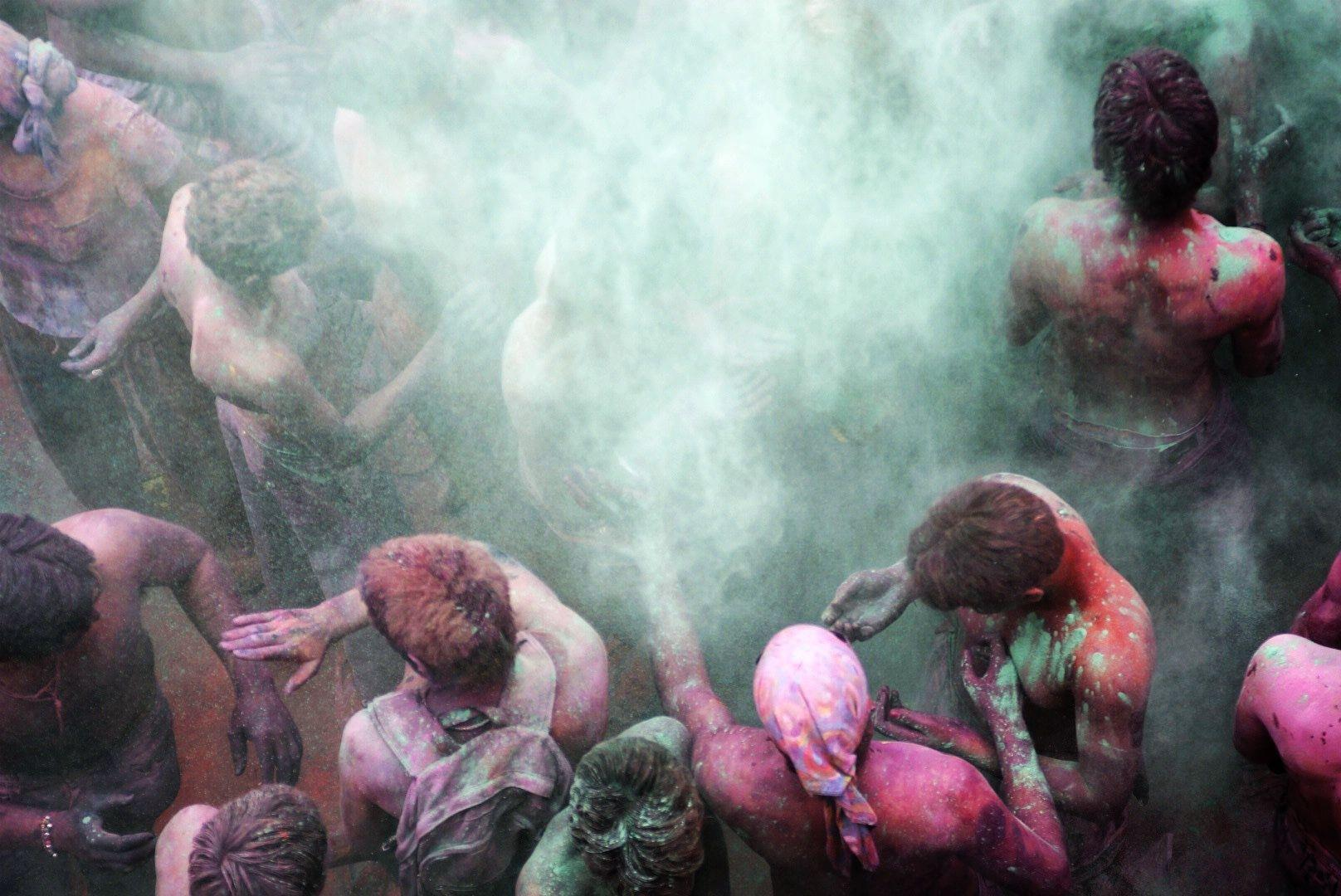 Locals Celebrating Holi Festival in Pushkar, India