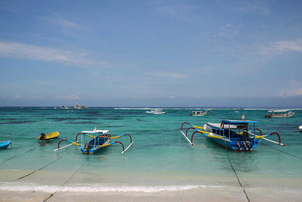 Boats Docked Along Nusa Lembongan Village Beach