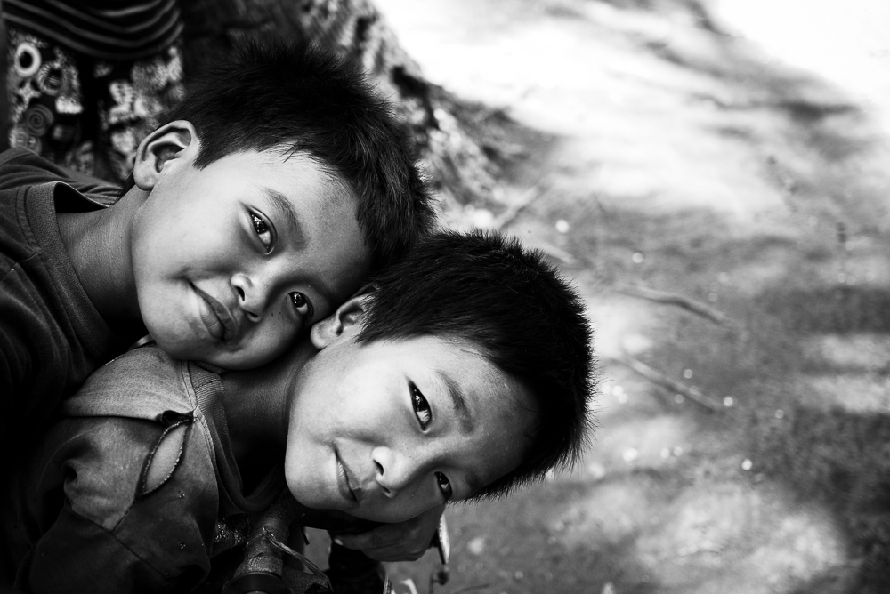 Two Children In Nusa Lembongan Fishing Village