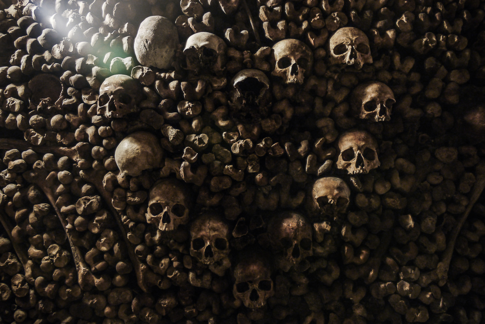 Skulls Arranged In Heart Shape in Paris Catacombes