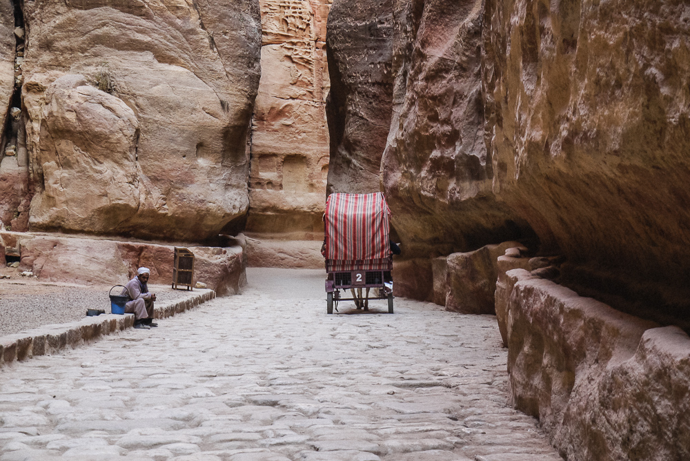 Carriage waiting in Al Siq of Petra