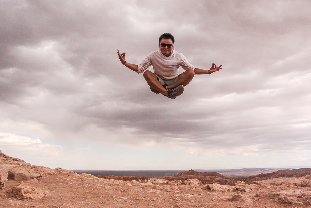 Epic Buddha Jumping Shot in Atacama Desert