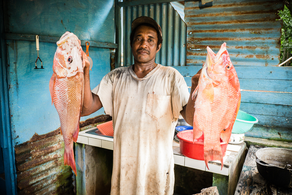 Local Fisherman Showing Catch Of Day On Little Corn Island