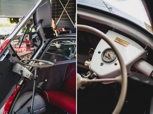 Vintage Restored BMW Isetta Front Door Opening and Steering Wheel
