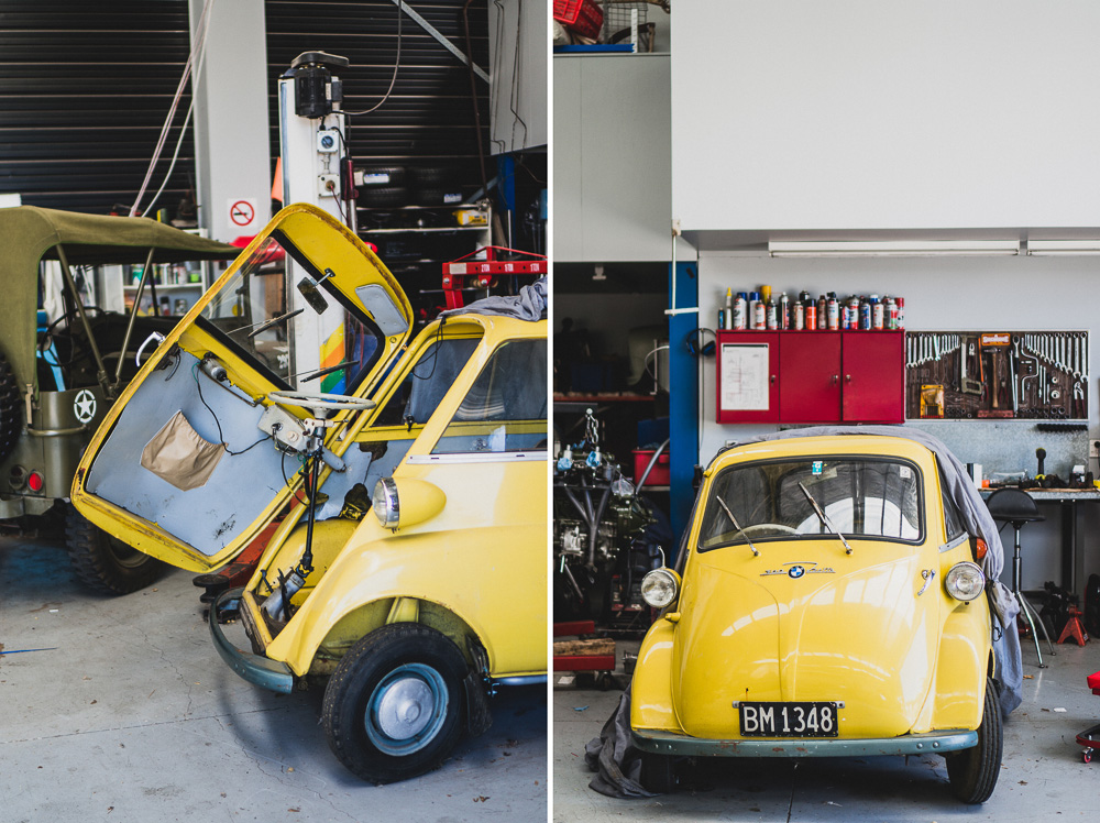 Yellow Vintage BMW Isetta Project Car