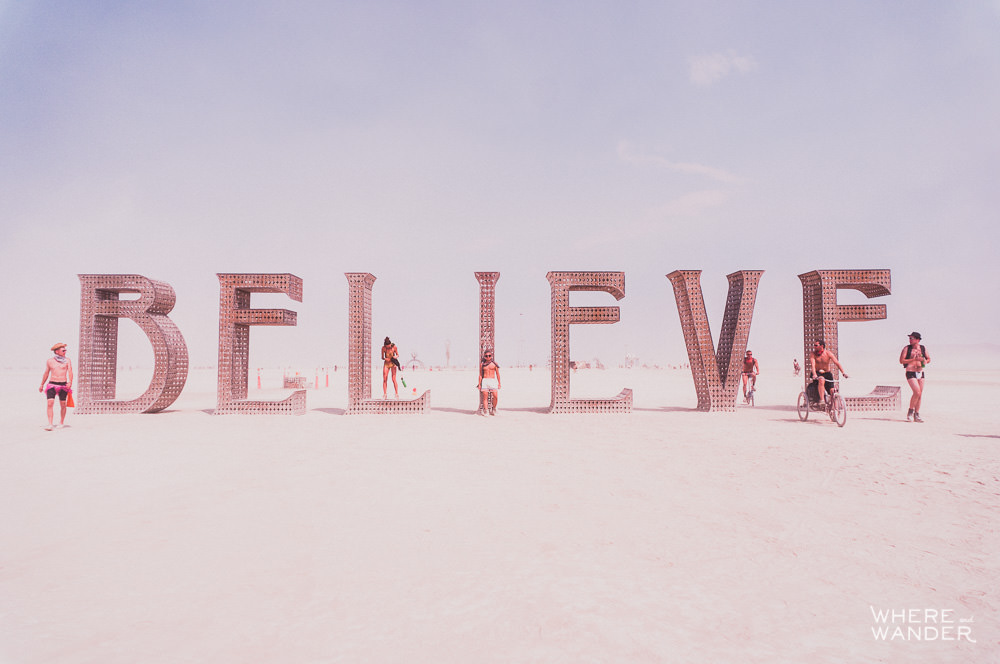 Burning Man Believe Sculpture
