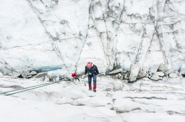 Descending Glacier Ice Wall New Zealand