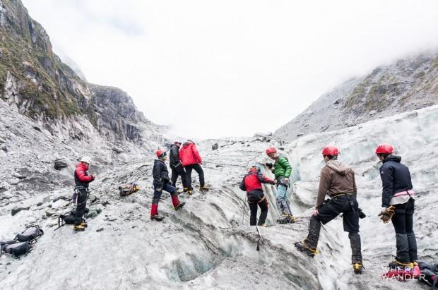 Fox Glacier Climbing Down Moulin