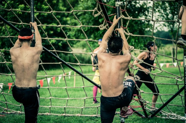 Climbing Pipe At Merrell Down and Dirty Obstacle Race