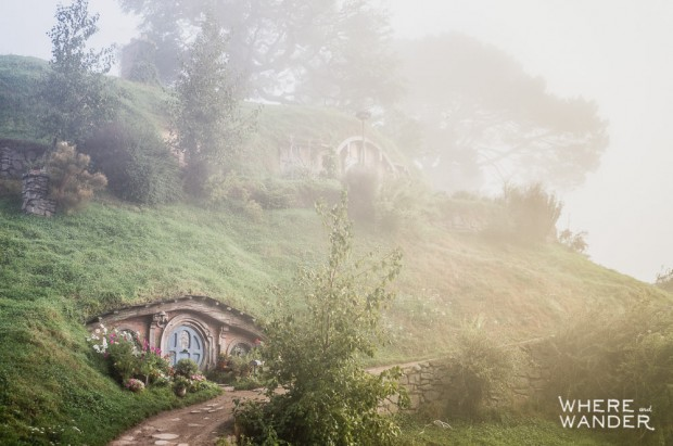 Bag End Hill In The Fog: Hobbiton Movie Set