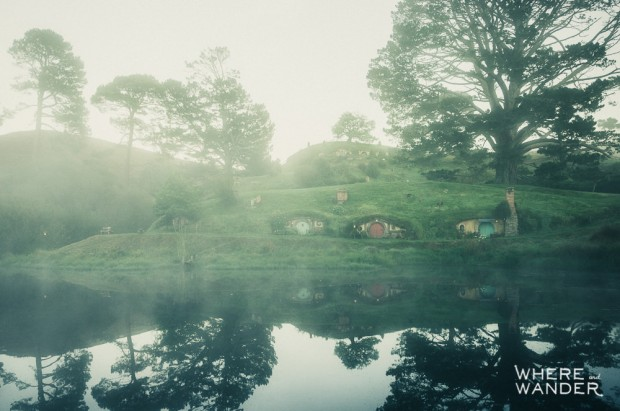 Hobbiton At Sunrise: Lord of the Rings Movie Set