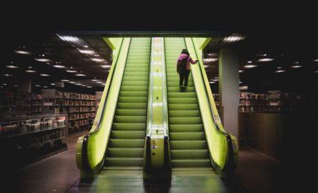 Lit elevators in Seattle Public Library