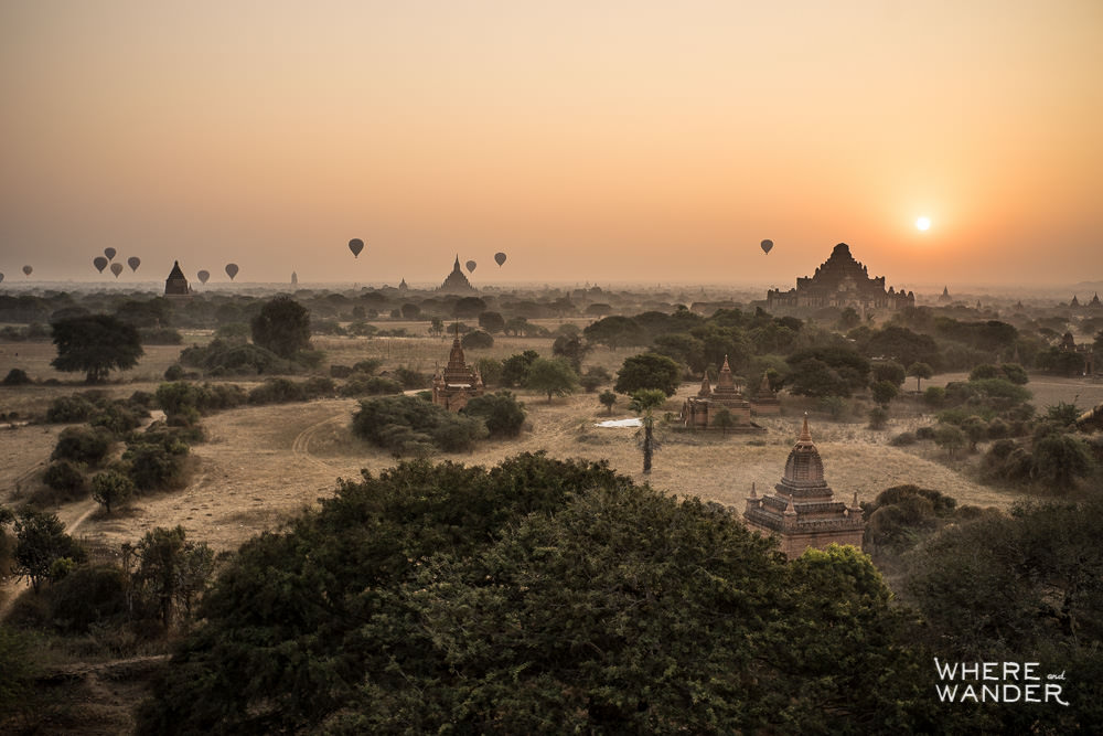 Hot Air Balloons Over Bagan At Dawn