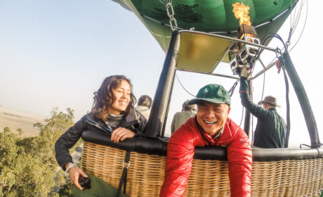 Hot air balloon flight selfie over inle lake in myanmar