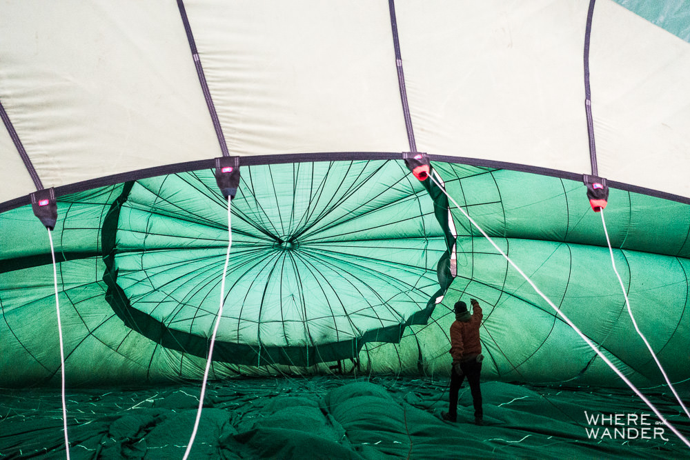 Inflating Hot Air Balloon in Myanmar