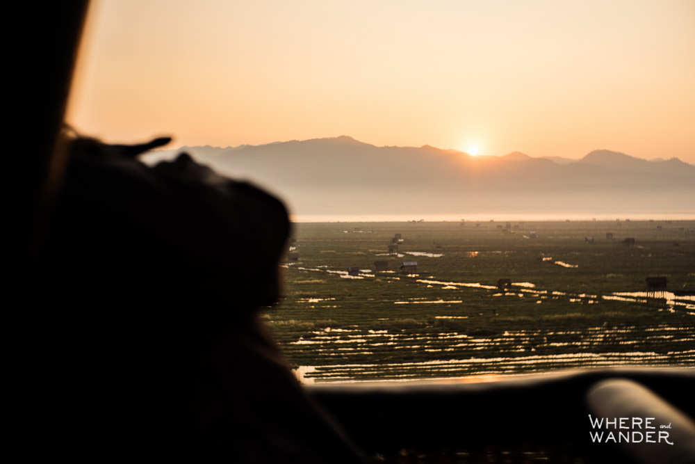 Sunrise Over Mountain Ranges Around Inle Lake In Myanmar