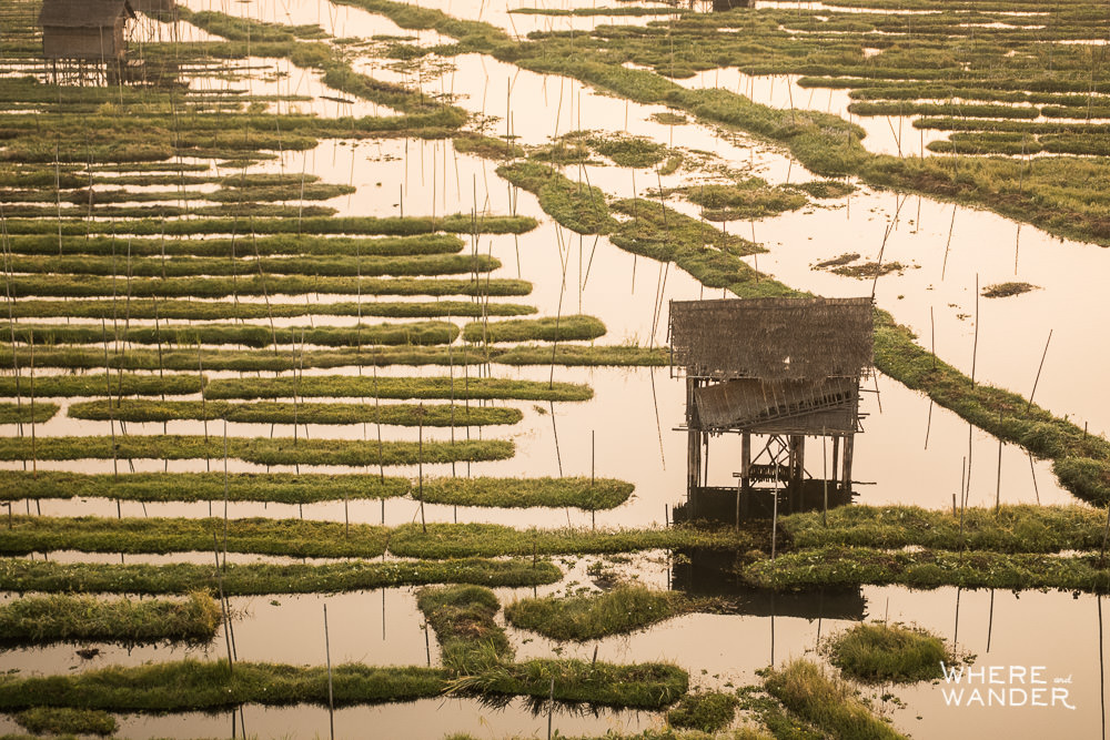 Aerial View Of Stilted Shack In Inle Lake, Myanmar