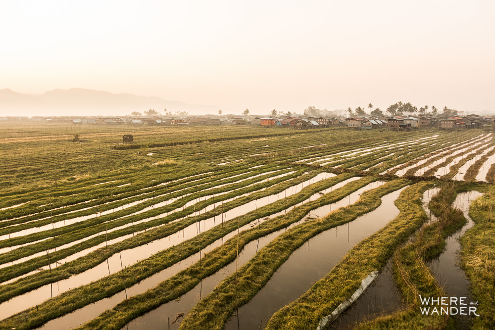 Aerial Photography Over Rice Paddies and Channels at Inle Lake