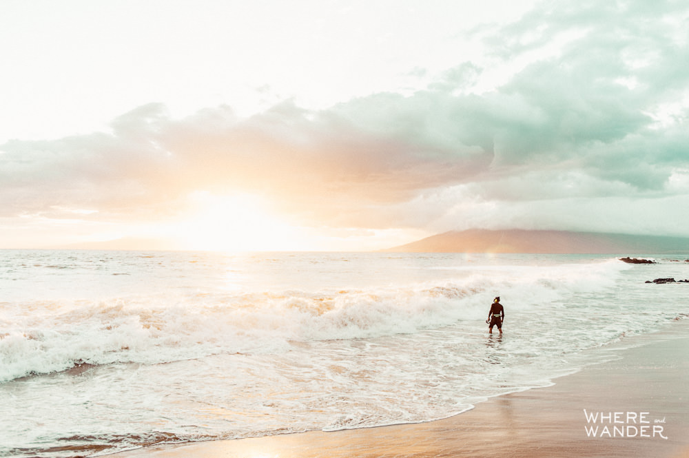 Diver On The Beach At Sunset In Maui