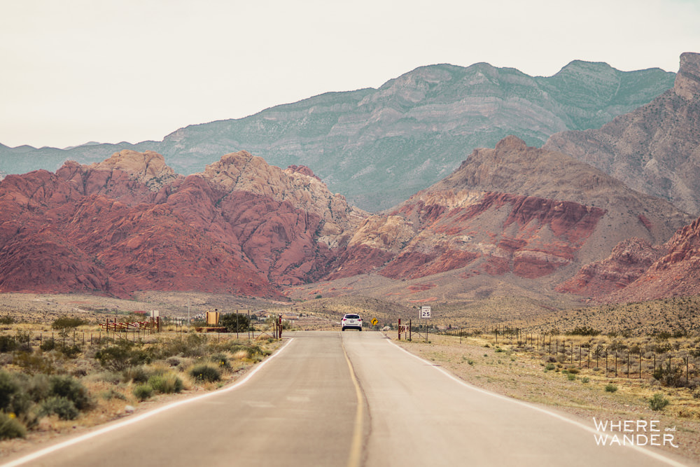 Driving To Red Rock Canyon Outside Las Vegas