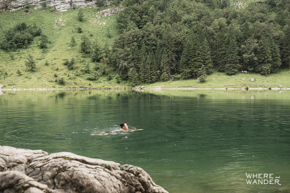 Swimming In Glacial Water At Seealpsee Lake