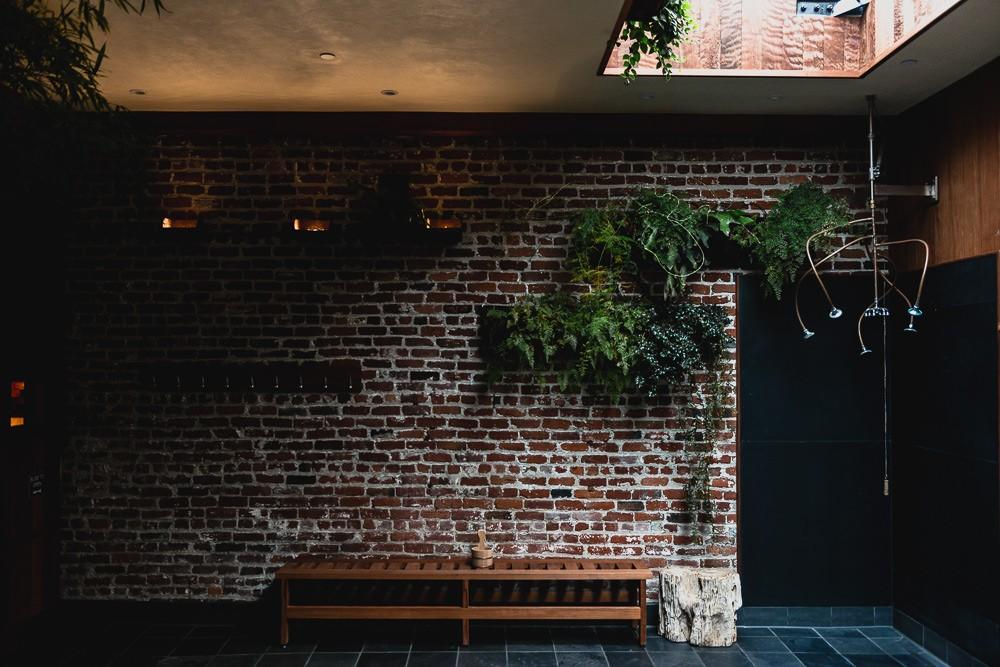 Hanging Plants On Brick Wall at Onsen SF