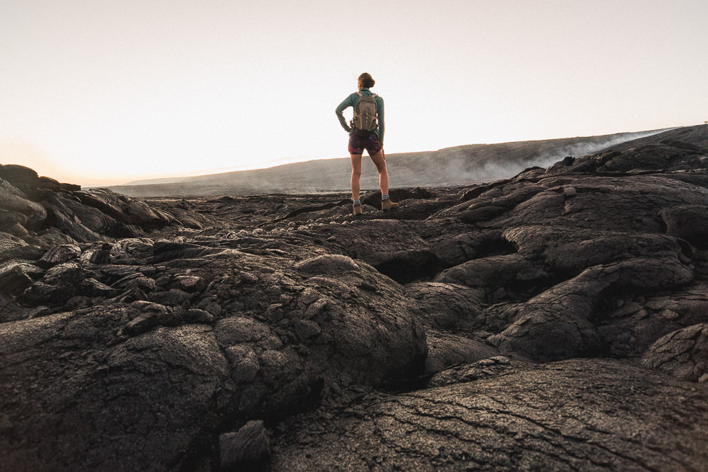 Hiker In Volcanoes National Park
