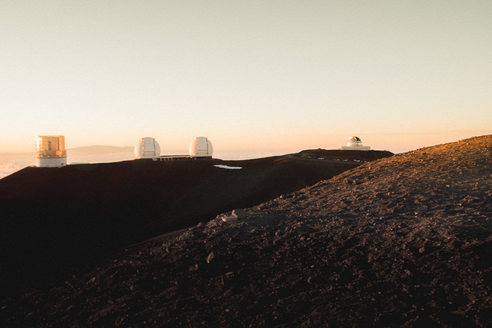 Mauna Kea Summit Observatories At Sunset