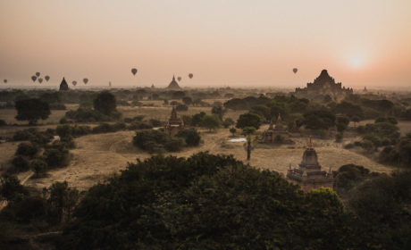 Hot Air Balloons flying over pagodas in Bagan