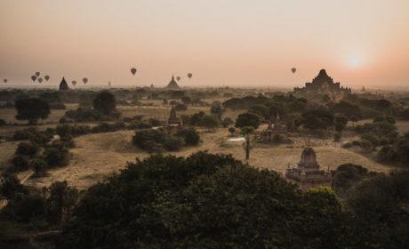 Hot Air Balloons flying over pagodas in Bagan