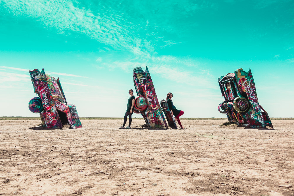 Road Trip stop at Cadillac Ranch in Amarillo, Texas