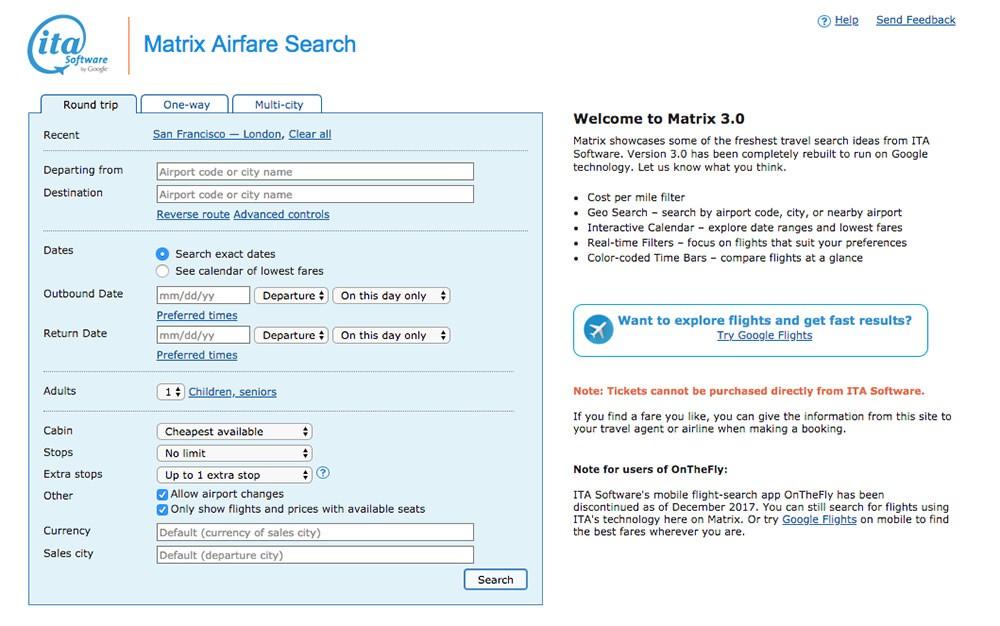 Screenshot of Matrix by ITA Software