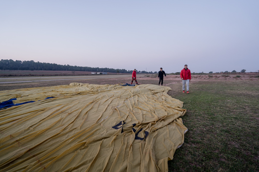Deflated Hot Air Balloon at Dawn in Sallert