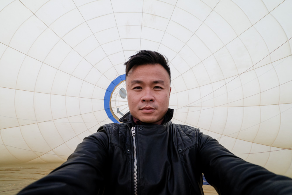 Selfie inside inflated Hot Air Balloon in Spain