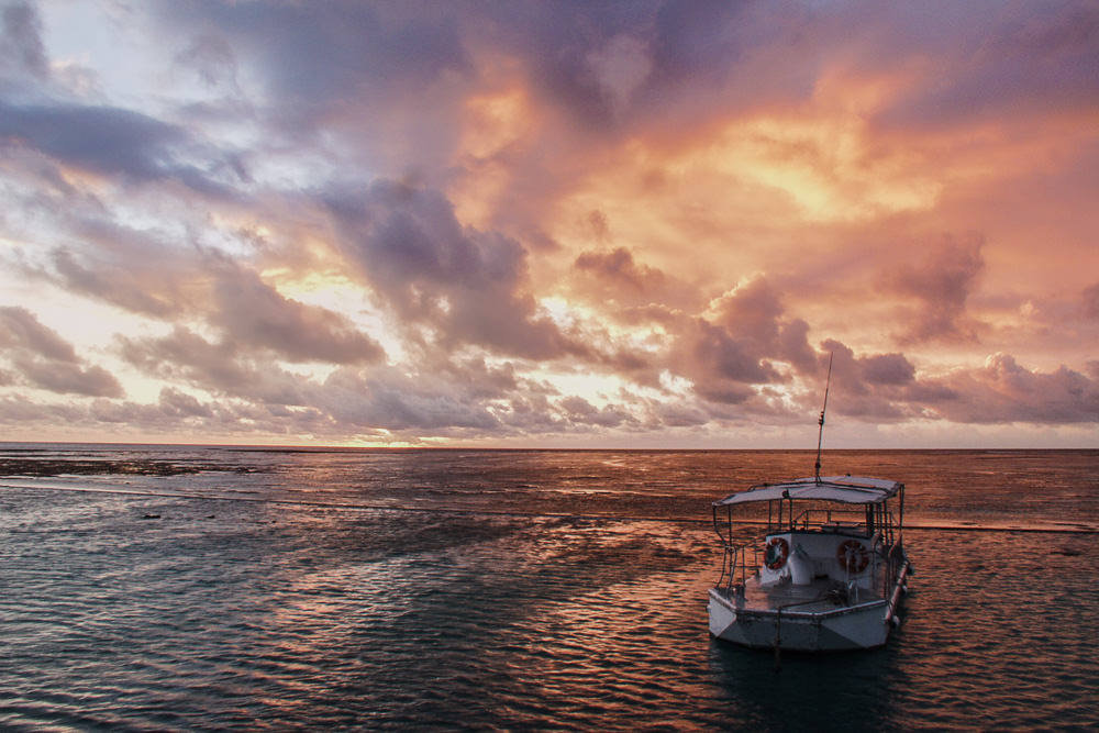 Heron Island Boat At Sunset